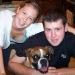 Zoe with Josh and dog